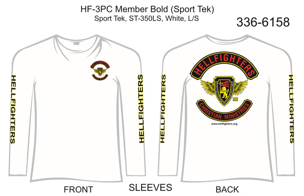 T-Shirt, Long Sleeve, Hellfighter 3pc Member Bold (white, Sport Tek, HF-Sleeves)