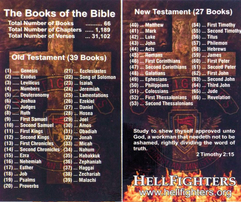 Cards, Books of the Bible (Pack of 100)