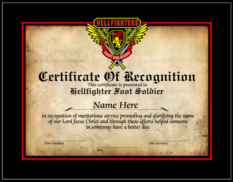 Certificate, Certificate of Recognition - Foot Soldier
