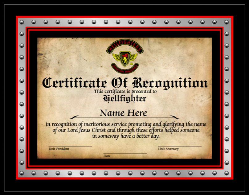 Certificate, Certificate of Recognition - 3pc Member