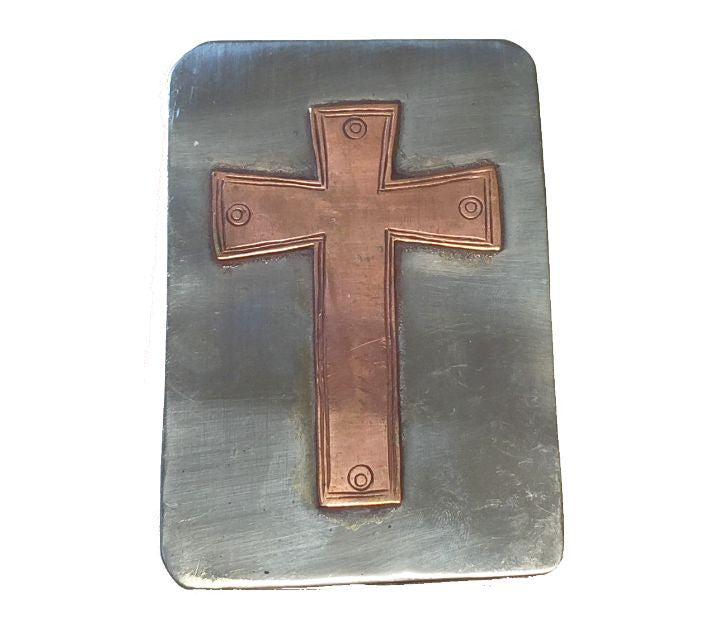 Crosses, Cross Business Card Box - White Metal