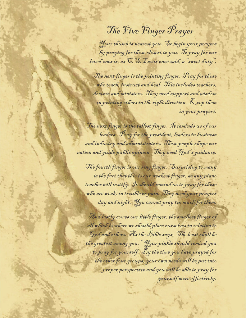 Poem/Pledge, Five Finger Prayer