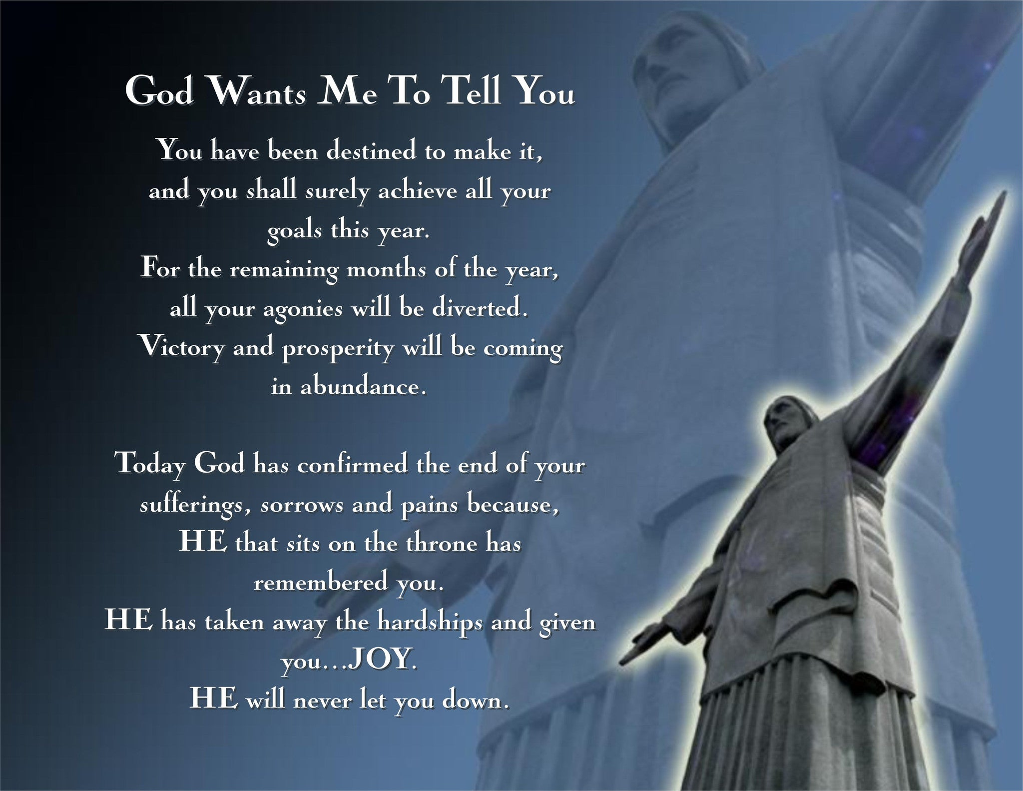 Poem/Pledge, God Wants Me To Tell You