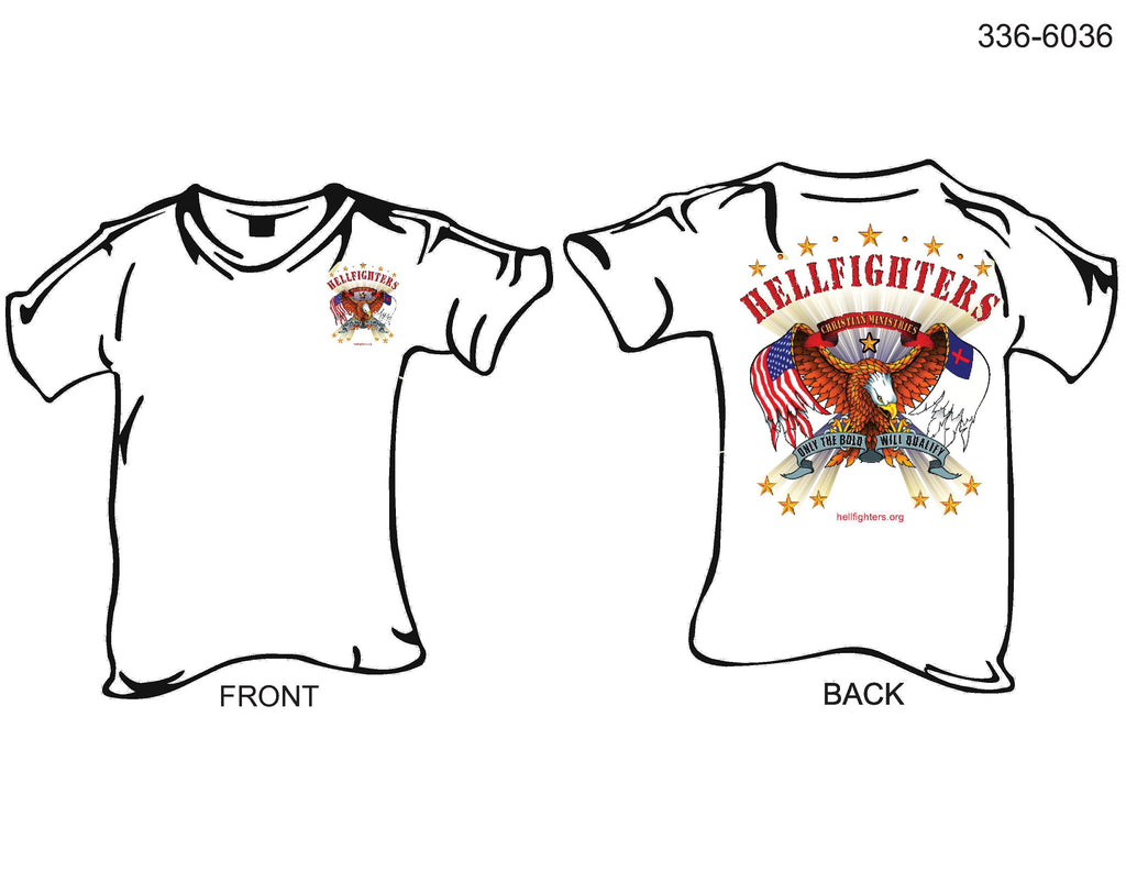 T-Shirt, Short Sleeve, Hellfighters Eagle w/Wing Flags (white)
