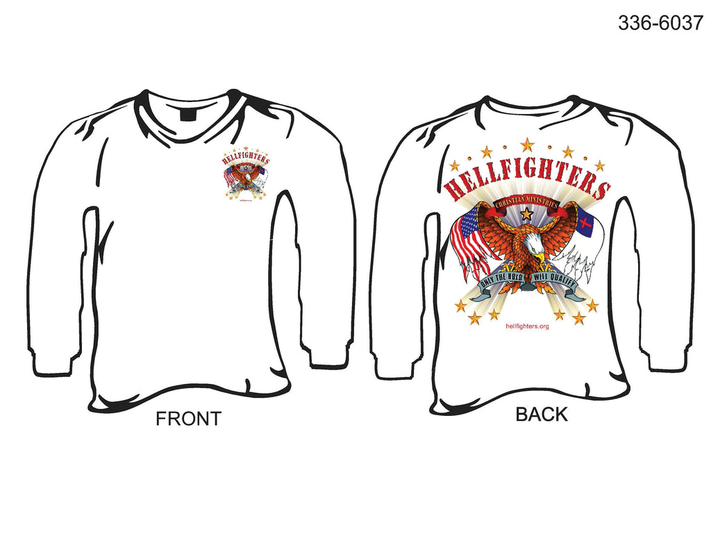 T-Shirt, Long Sleeve, Hellfighters Eagle w/Wing Flags (white, blank sleeves)