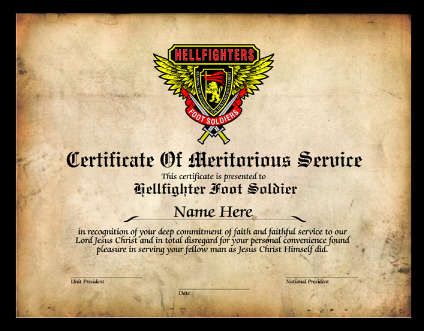 Certificate of Meritorious Service - Foot Soldier