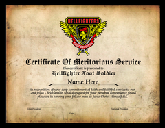 Certificate, Certificate of Meritorious Service - Foot Soldier