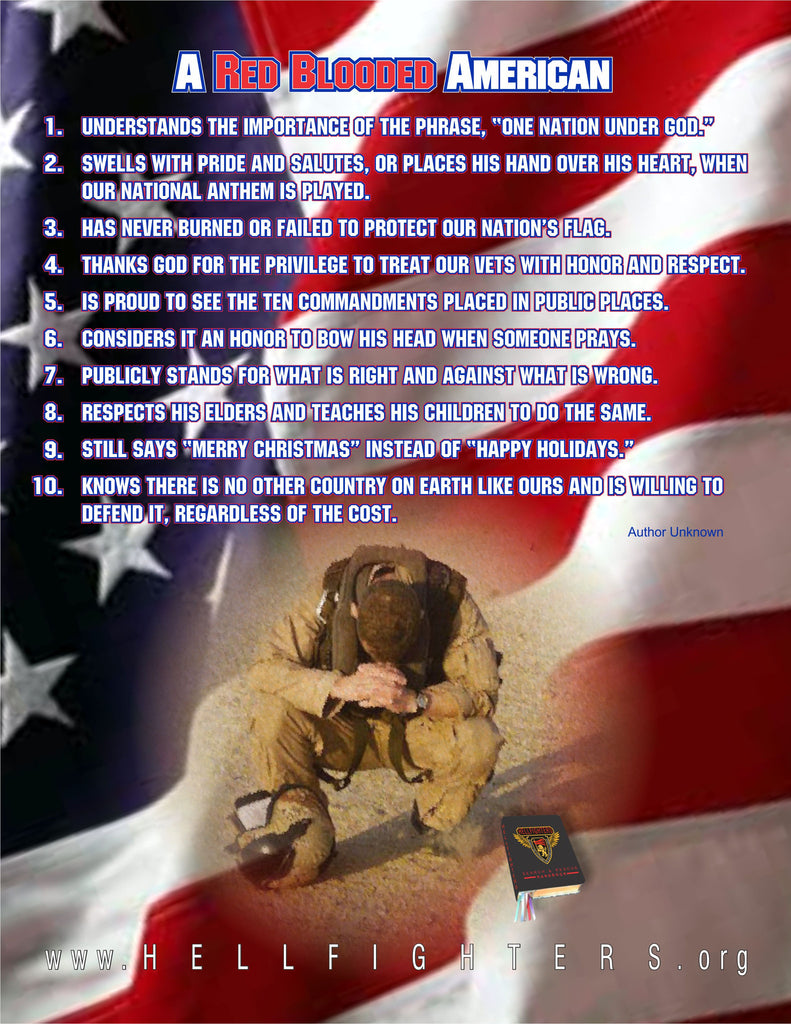 Poem/Pledge, Red Blooded American