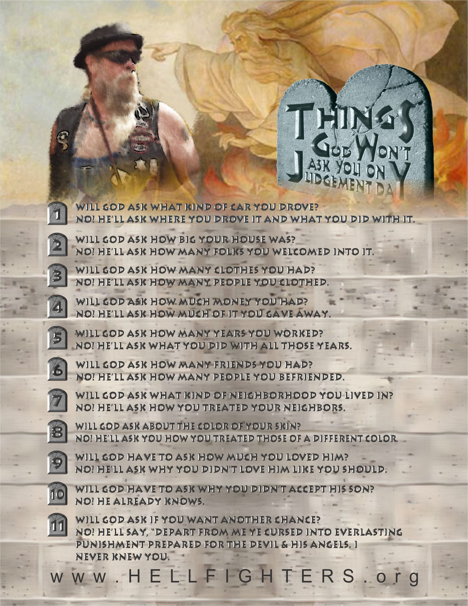 Poem/Pledge, Ten Things God Won't Ask You To Do