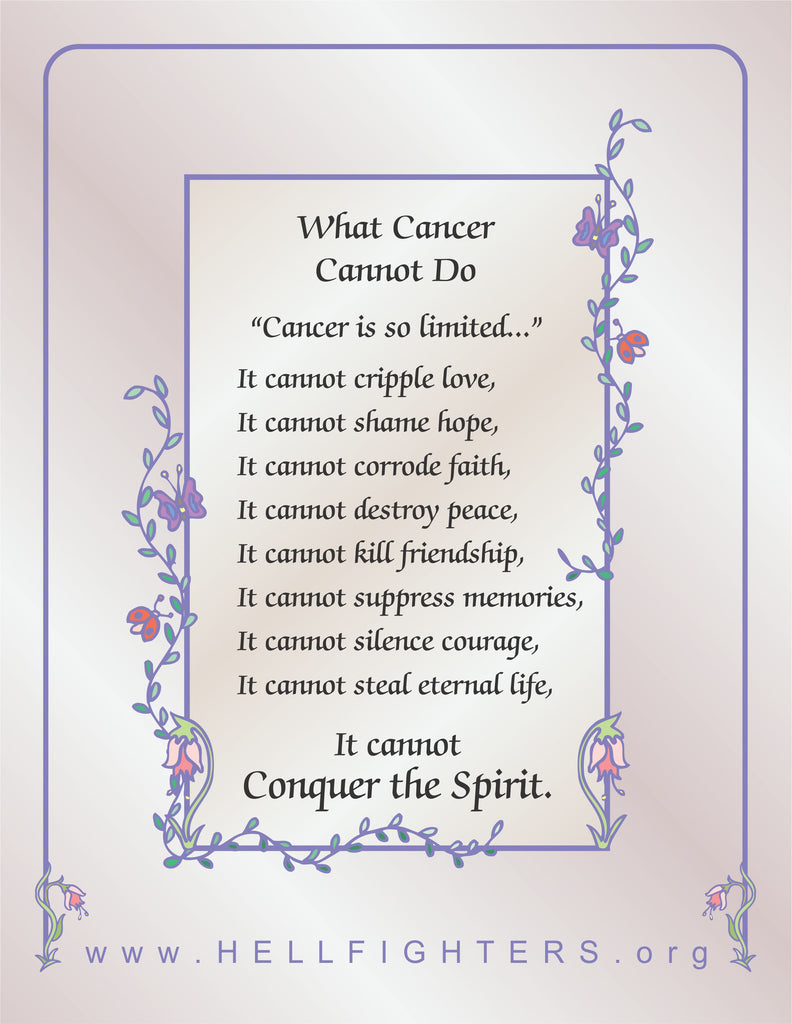 Poem/Pledge, What Cancer Cannot Do