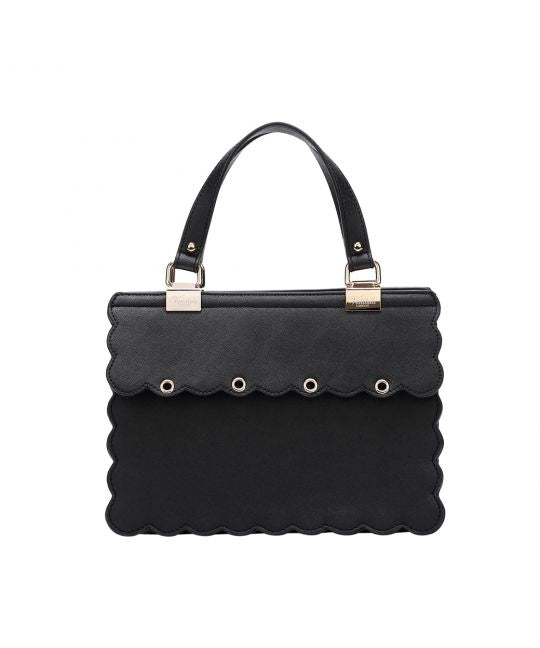 Charm Handbag with Scalloped Edges – Black