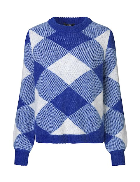 Rida Blue Chequered Knit