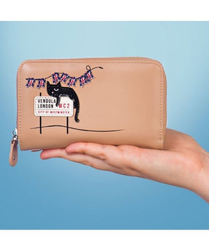 London Cats Medium Ziparound Wallet – Beige