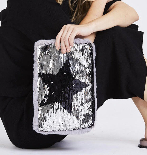 Sequin Star Grey Fluffy Bag