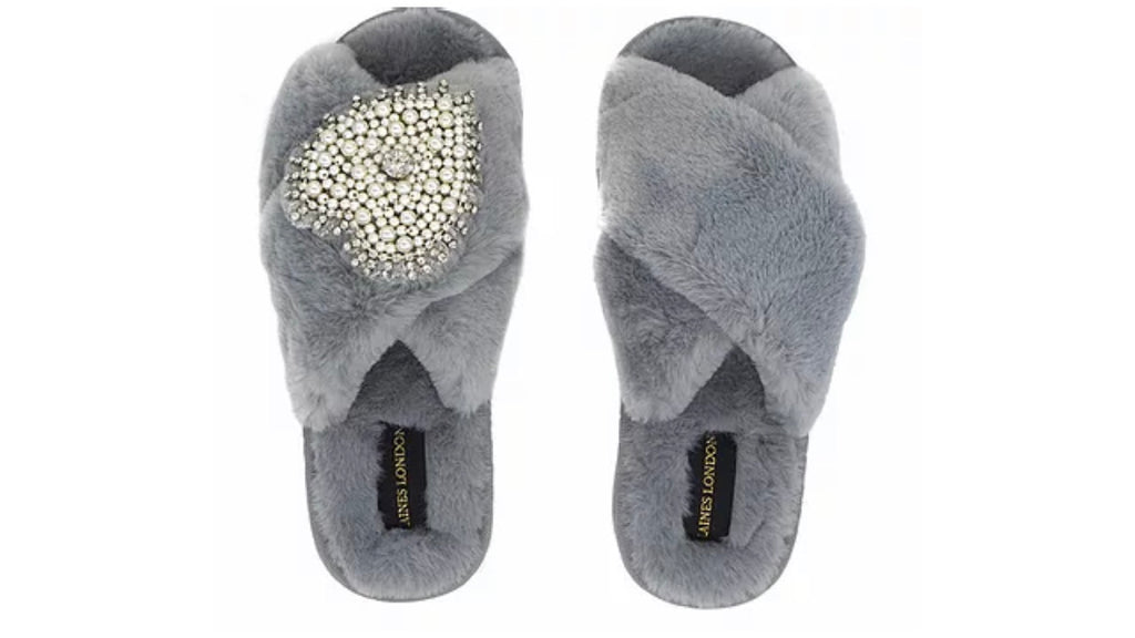 Grey Fluffy Slippers Pearl Heart Brooch