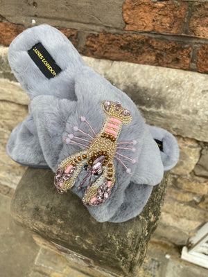 Grey Fluffy Slippers Pink Crystal Lobster Brooch
