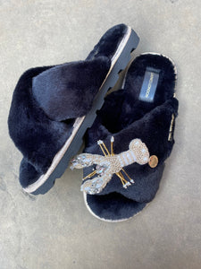 Black fluffy Slippers / Sliders With Pearl & Gold Lobster Brooch