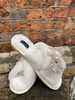 Cream Fluffy Slippers Opal and Gold Lobster Brooch