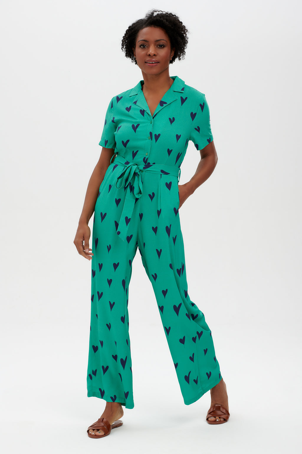 Hazel Green Hearts Jumpsuit