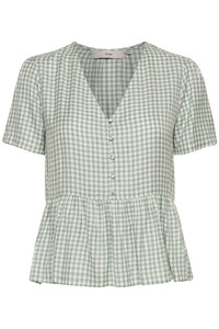 Ihhallow Green Gingham Top