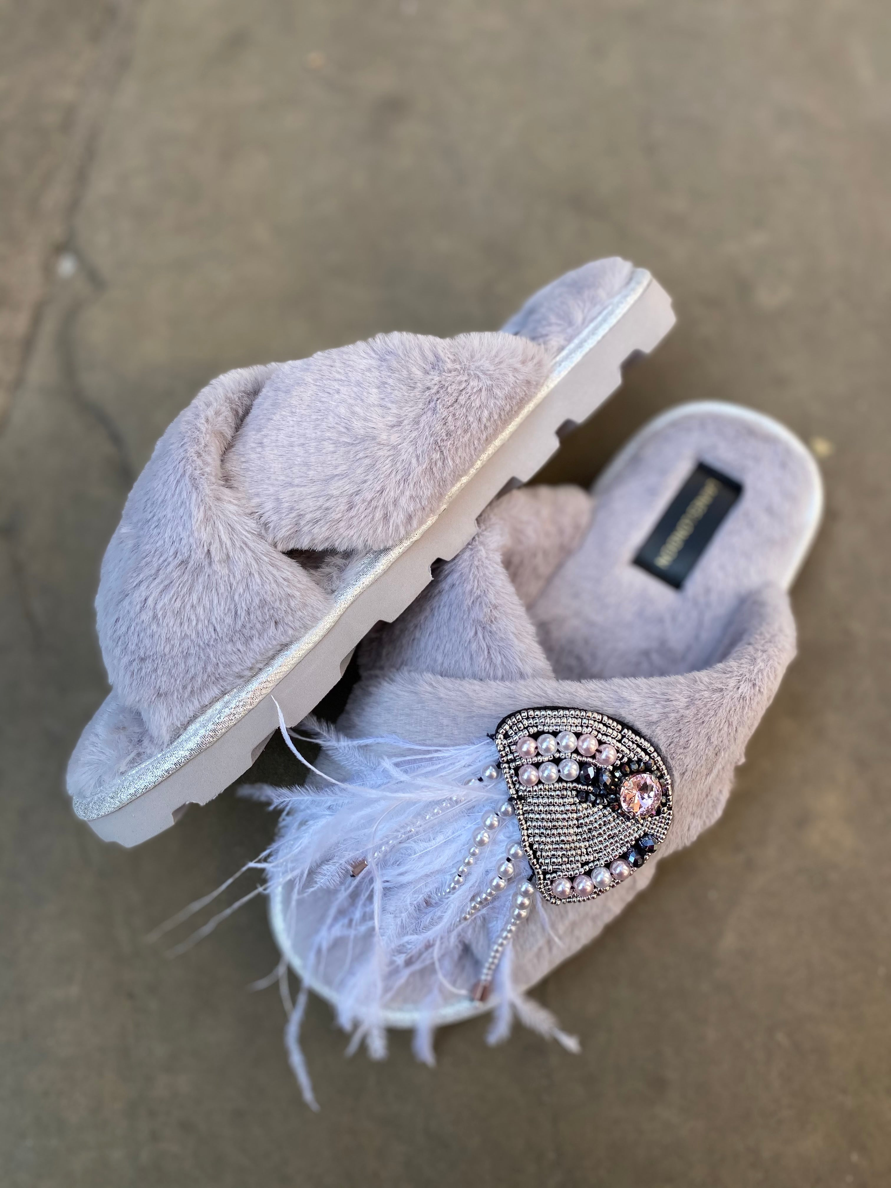 Grey fluffy Slippers / Sliders With Silver Jellyfish Brooch