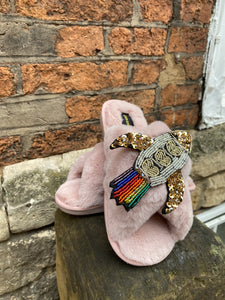 Pink Fluffy Slippers Rocket Brooch