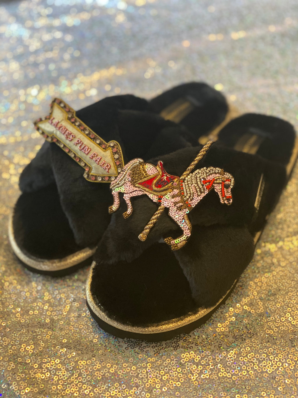 Black Ultralight Chic Slippers / Sliders with Premium Double Carousel & Laines Fun Fair Sign