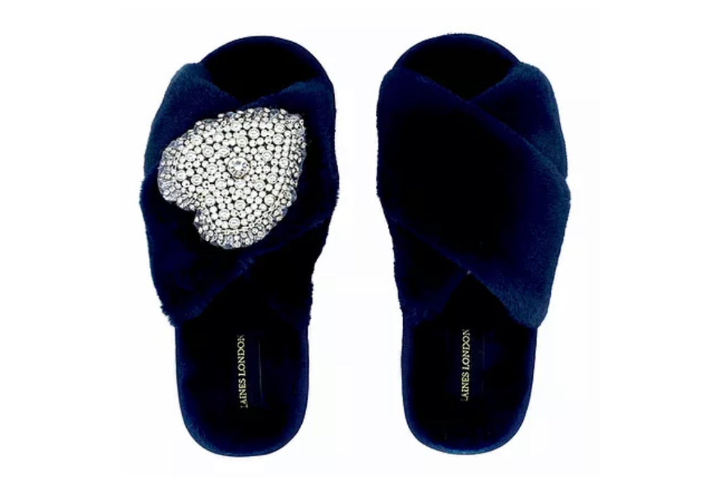 Navy Fluffy Slippers Pearl Heart Brooch