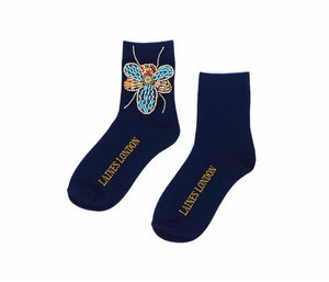 Navy Blue Bamboo Cotton Socks With Beaded Bug Brooch