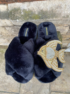 Black Fluffy Slippers Pearl and Gold Fish Brooch