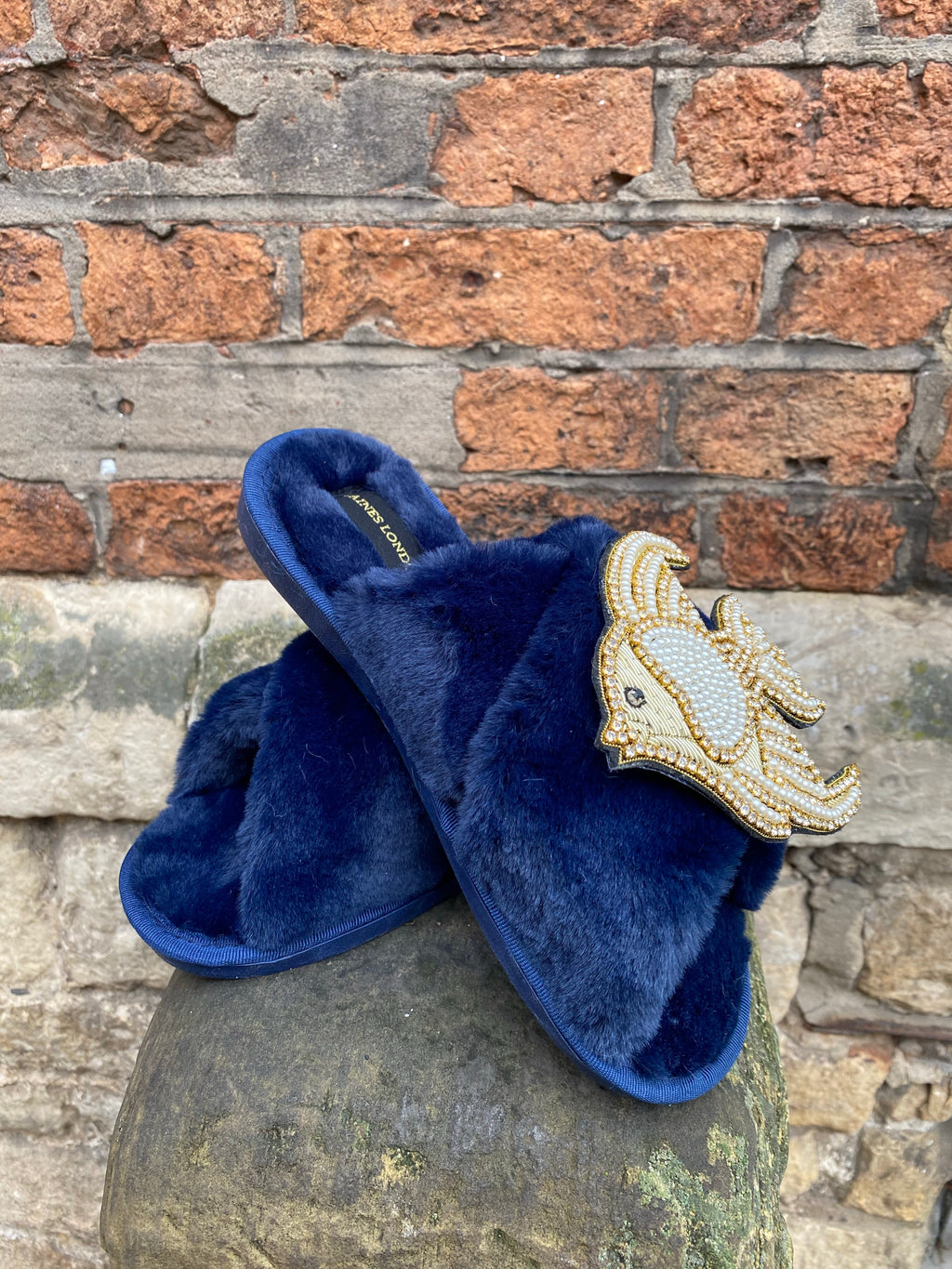 Navy Fluffy Slippers Pearl and Gold Fish Brooch