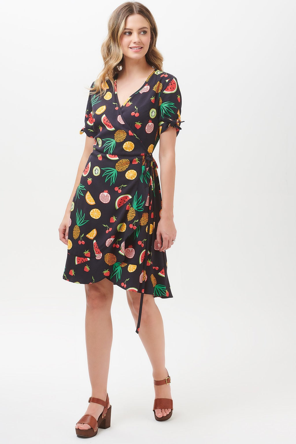 Jessica Fruit Punch Frill Wrap Dress