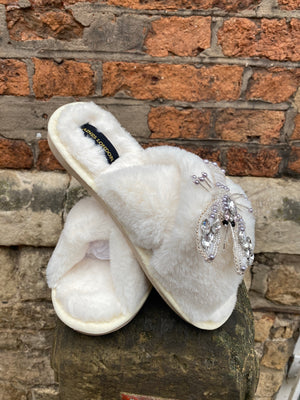 Cream Fluffy Slippers Opal and Silver Lobster Brooch