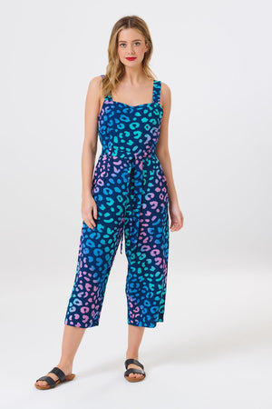 Millie Painted Leopard Cropped Jumpsuit