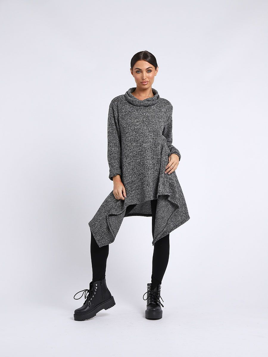 Cowl Neck Knitted Tonic Top - 3 colours