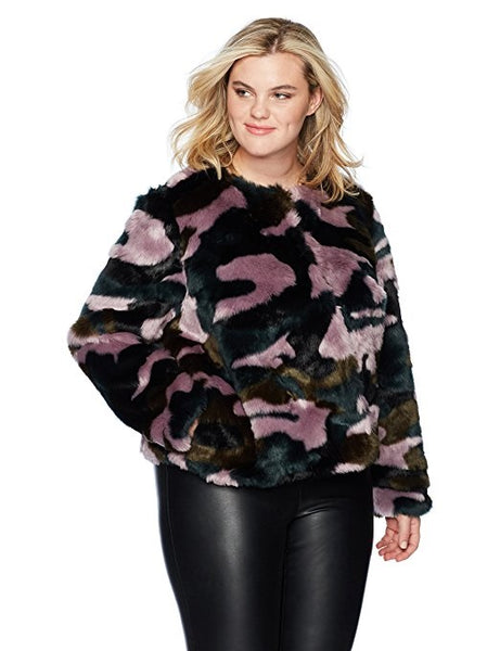 Plus Size Camo Fur Coat