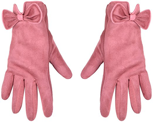 Pink Bow Touch Screen Gloves