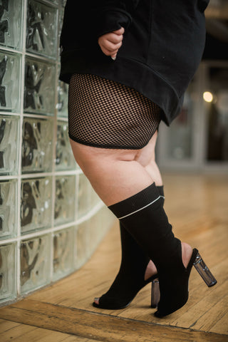 Trendy Plus Size Fashion: Fishnet, Velvet and Sweater Heels