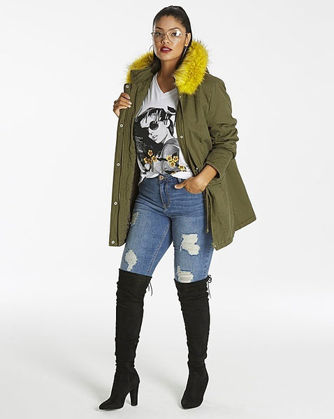 Plus Size Fur Lined Parka