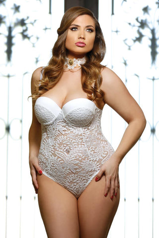 Plus Size Lingerie - White Push Up Teddy