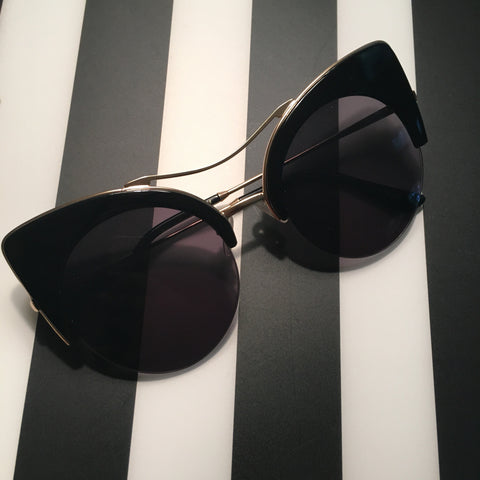 Black and Gold Frame Cateye Sunglasses