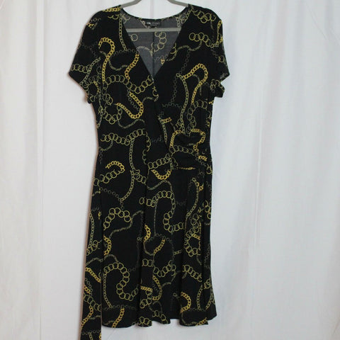 CLOSET SALE: Chain Print Wrap Dress - Size 18