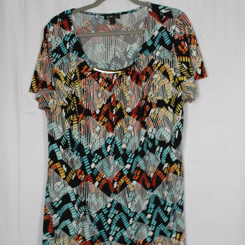 CLOSET SALE: Colorful Blouse with Gold Detail - Size 1X