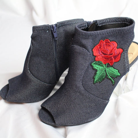 CLOSET SALE: Denim Lucite Booties - Size 9