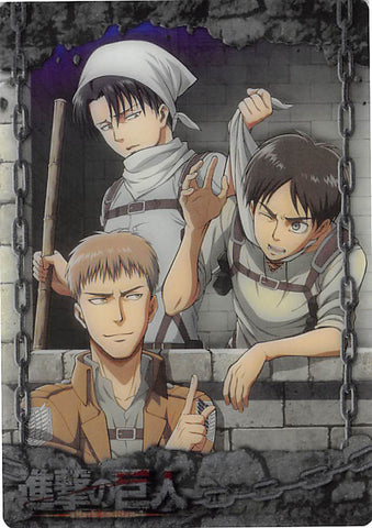Attack on Titan Trading Card - ATW-I-01 Metallic FOIL Wafer Choco Levi Eren and Jean (Levi Ackerman) - Cherden's Doujinshi Shop - 1
