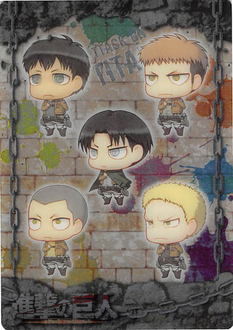 Attack on Titan Trading Card - ATW-I-06 Metallic FOIL Wafer Choco Levi Jean Connie Bertolt and Reiner (Levi Ackerman) - Cherden's Doujinshi Shop - 1