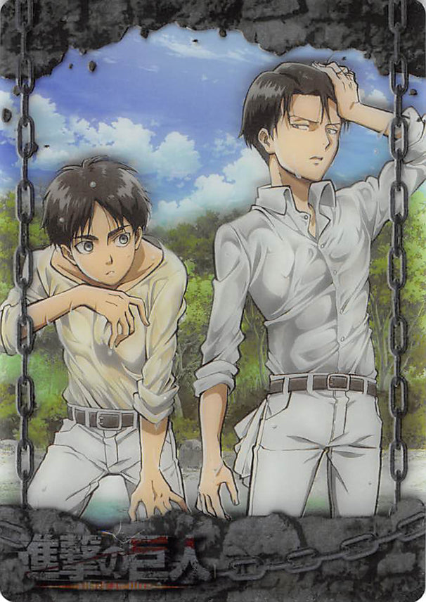 Attack on Titan Trading Card - ATW-I-07 Metallic FOIL Wafer Choco Levi x Eren (Levi Ackerman) - Cherden's Doujinshi Shop - 1