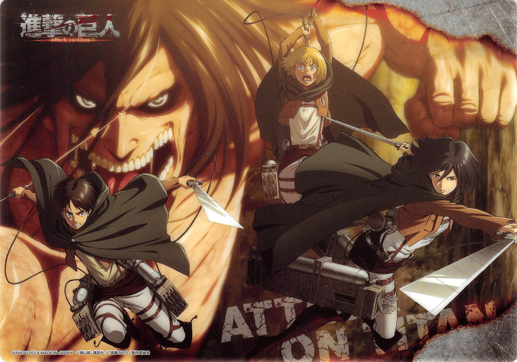 Attack on Titan Clear Plate - Jumbo Carddass Visual Art Bromide 4 Type 16: Eren Armin Mikasa and Titan Eren (Eren) - Cherden's Doujinshi Shop - 1