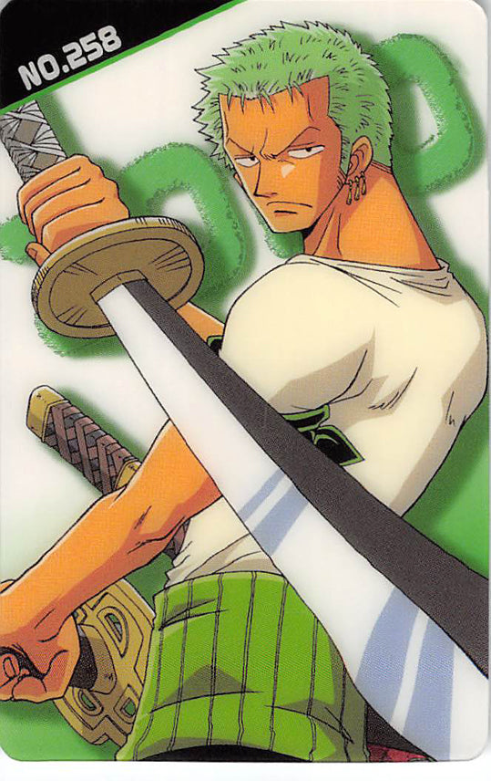 One Piece Trading Card - New King of Pirates Gumi Part 9: No. 258 Zoro Bandai (Zoro) - Cherden's Doujinshi Shop - 1