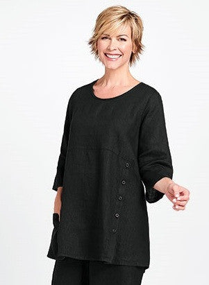flax designs womens linen market tunic black